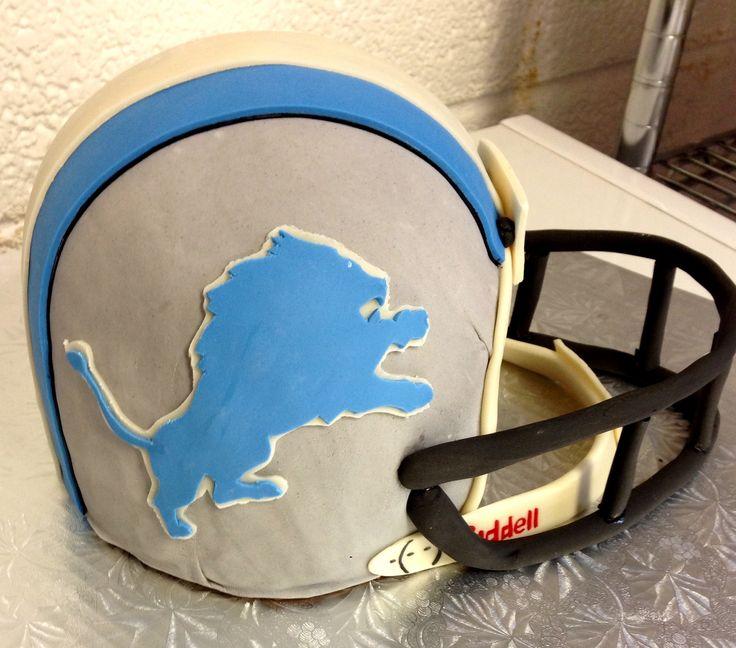 Detroit Lions football helmet cake
