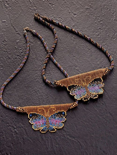 Loomed or square stitch pendants on beaded ropes - maker unidentified.
