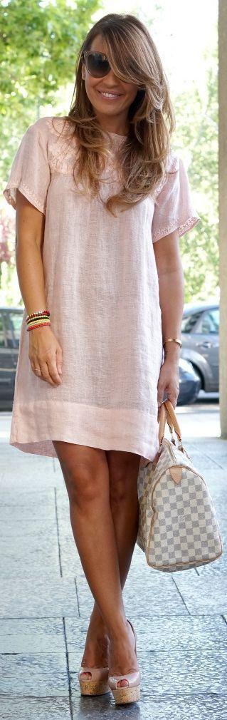 #Summer #Outfits / Pink Shirt Dress + Pink Heels