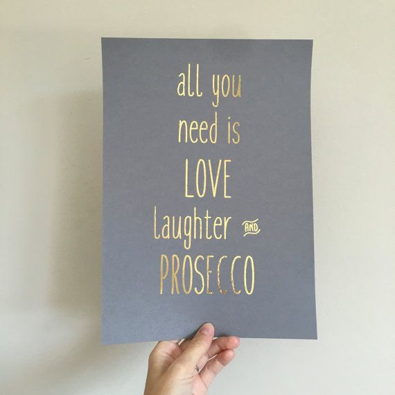 Prosecco Print Wine wall art Prosecco Quote by SweetLittleGemss