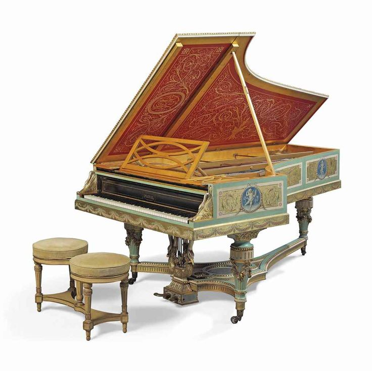A NAPOLEON III GILTWOOD, POLYCHROME PAINTED AND SATINWOOD PIANO A QUEUE BY PLEYEL, SERIAL NUMBER 44741, PARIS, 1868, DECORATED BY PAUL-JACQUES-AIMÉ BAUDRY (FRENCH, 1828–1886)   Price realised GBP 40,000