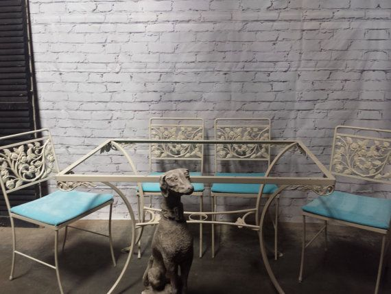 Mid Century Wrought Iron Patio Set By Shabbyvintagelion On Etsy