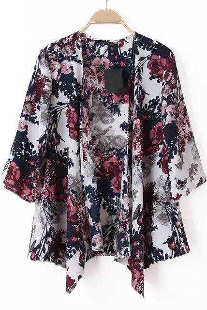 Kimono suelto floral manga media-blanco 12.35