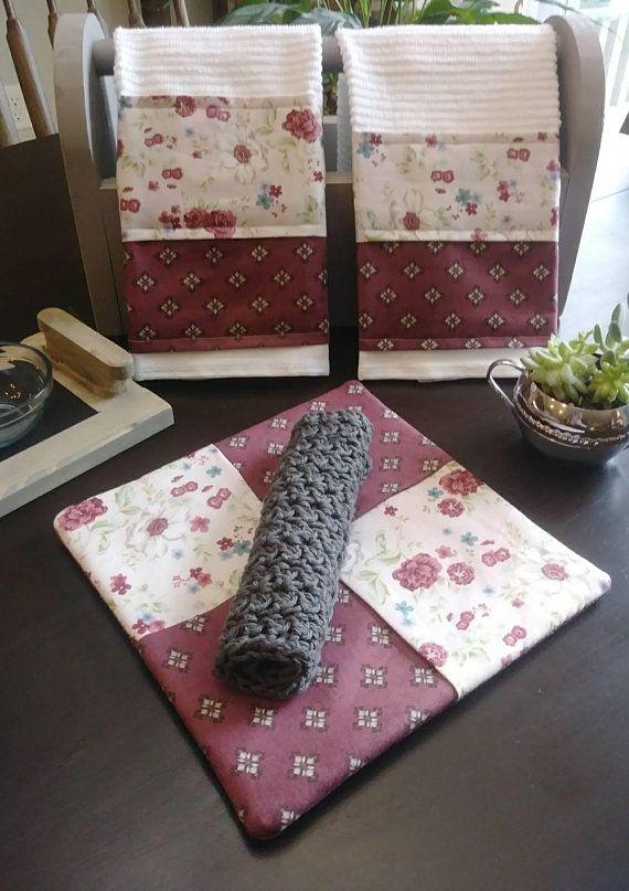 Cottage Flowers 4 Piece Kitchen Set With Images Kitchen Towel