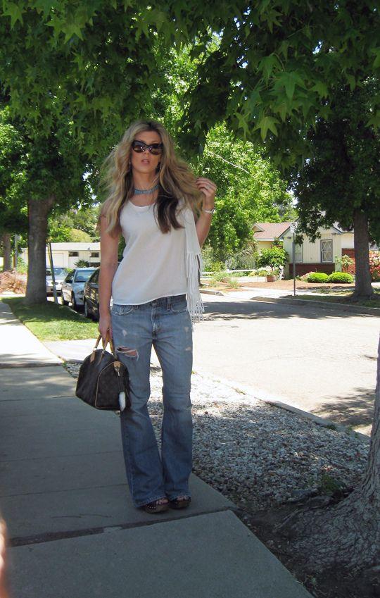 Leyendecker blouse+ripped Levis jeans+Miu Miu clog sandals+Louis Vuitton bag-og