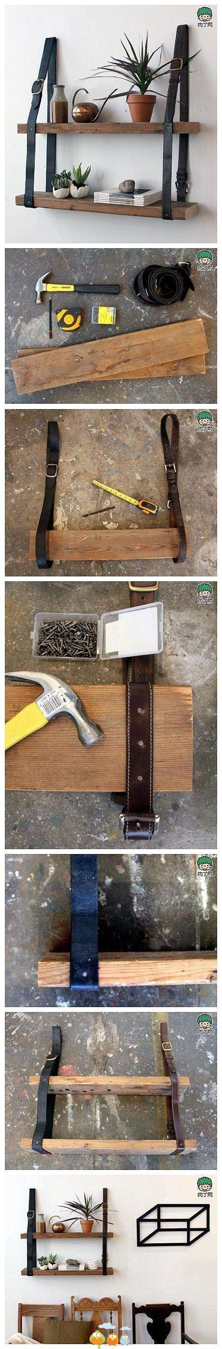 Baldas de madera con cinturones de cuero// leather belts and wood shelves