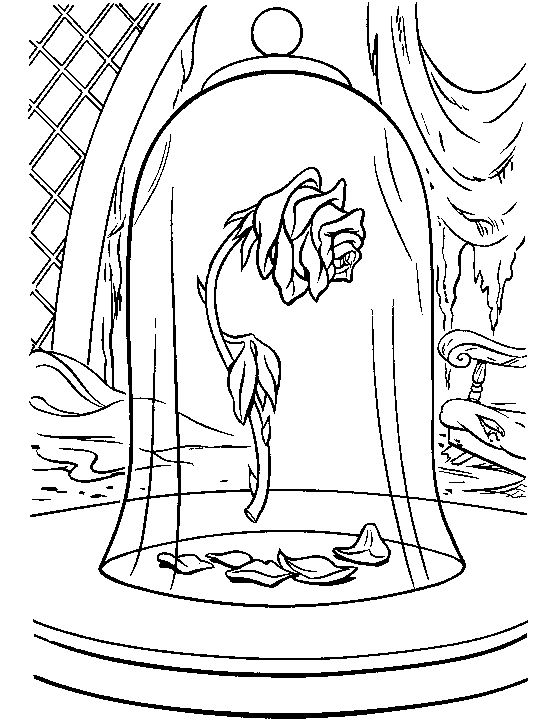 Beauty And The Beast Enchanted Rose Coloring Pages For Adults