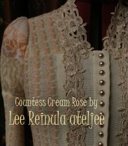 Knitted jacket Countess Cream Rose by Lee Reinula 2014, merino and lace