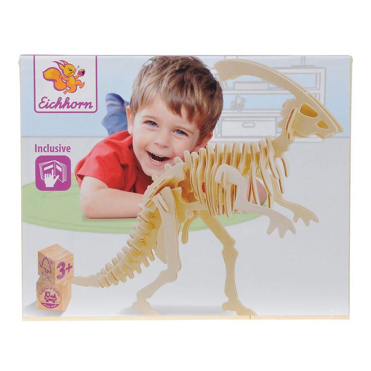 Maak een houten dino met deze 3D puzzel van Eichhorn. Druk de verschillende onderdelen uit de houten plaat, verbind ze aan elkaar en zie een 3D figuur van een dinosaurus verschijnen. Spelen met de 3D puzzel stimuleert de ontwikkeling van vormherkenning en het probleemoplossend vermogen. Inclusief handleiding. Afmeting: verpakking 23 x 19 cm - Eichhorn 3D Puzzel Dino