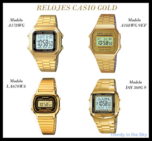 Relojes dorados, golden watches, Casio