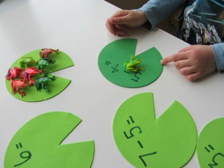 This is dealing with subtraction. When the frog hops on to the lilly pad the student has to figure out the answer. This will be a learning center.