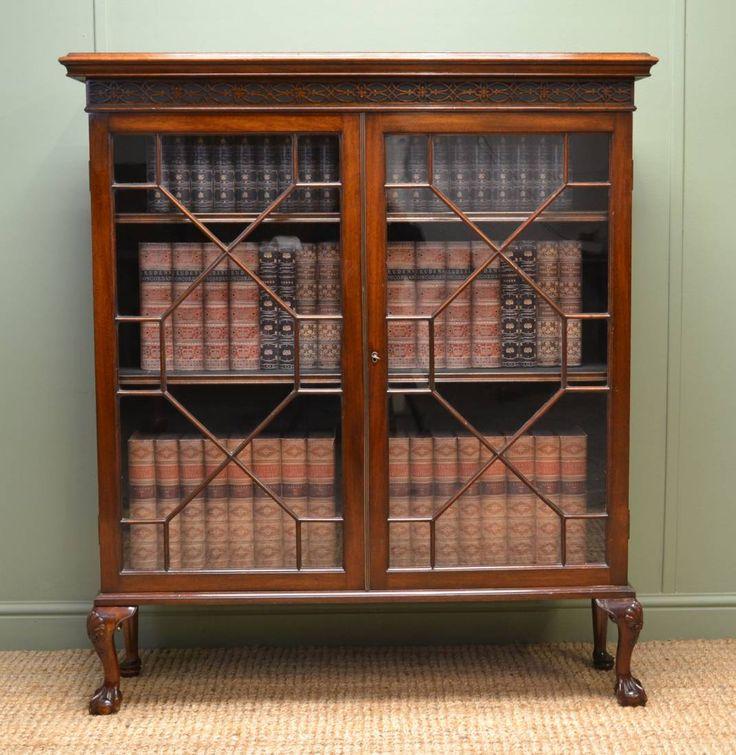 Ball And Claw Foot Quality Edwardian Mahogany Antique Glazed Bookcase /  Displayu2026