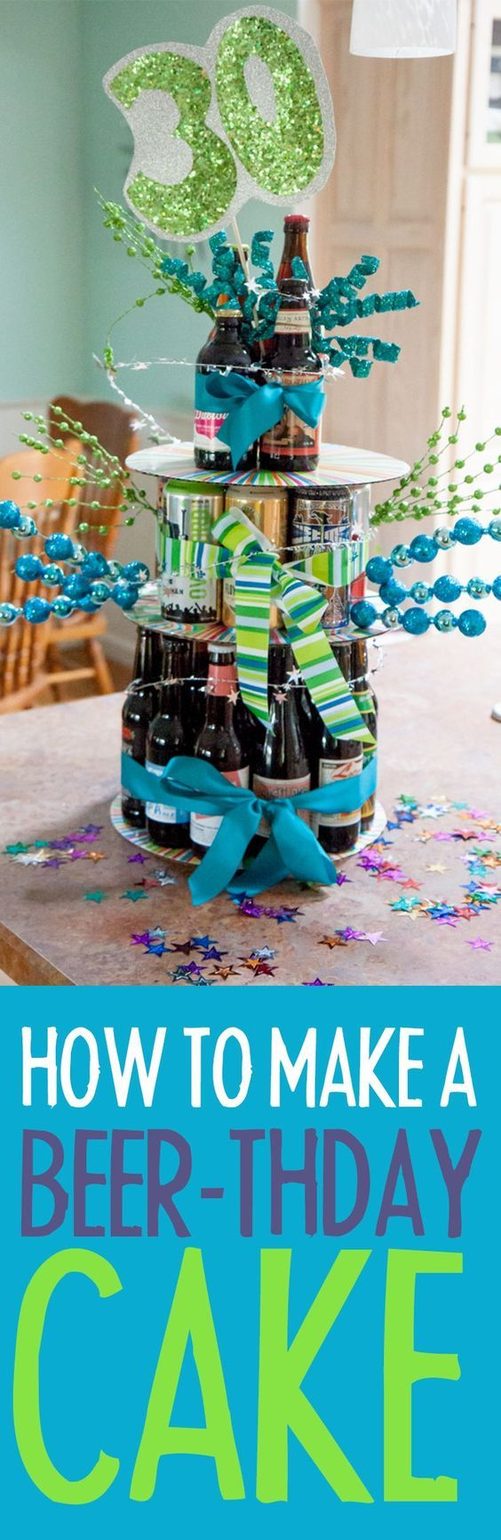 How to Make a Beer-thday Cake Click through for this fun tutorial! Back To Her Roots