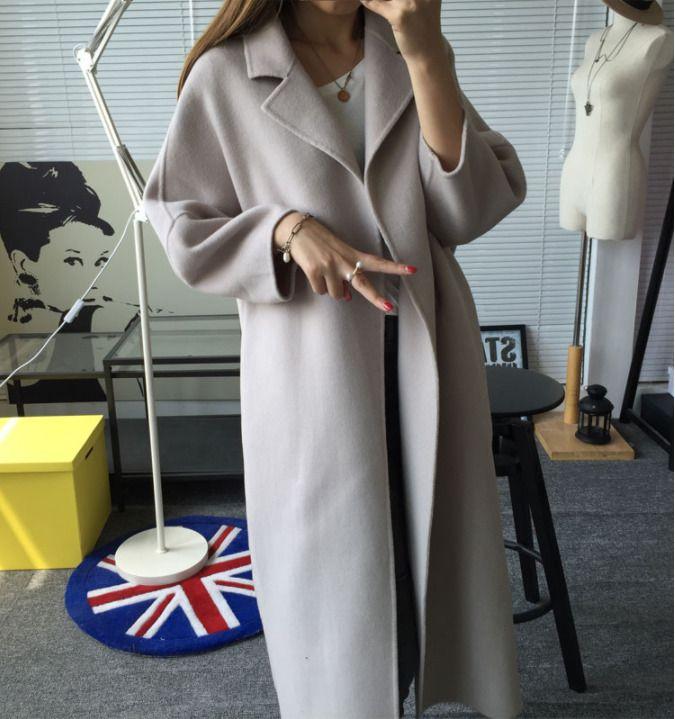 Womens Super Long Coats Lapel Outwear Jackets Fall Warm Jackets Loose Overcoats