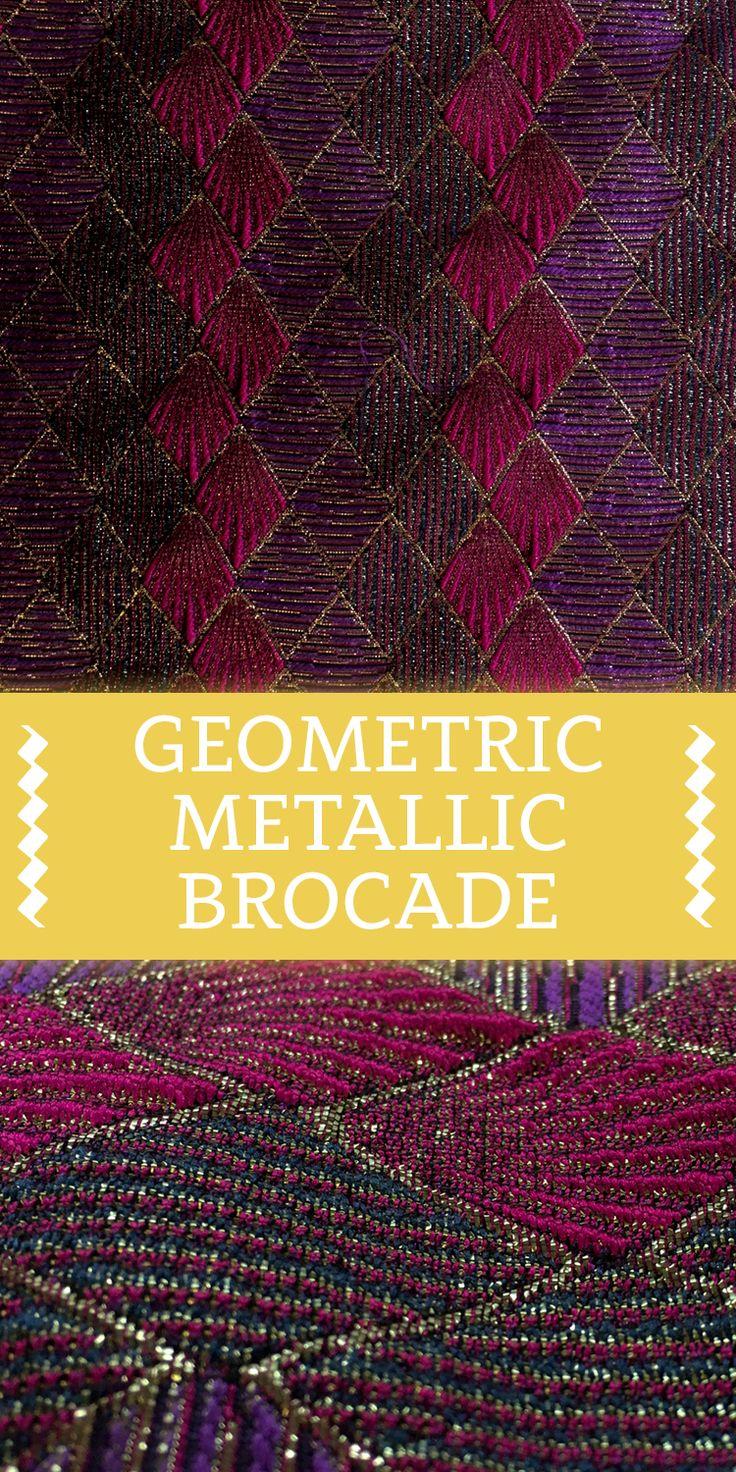 Geometric Metallic Brocade in Pink and Purple with Diamond Pattern (Made in Switzerland)