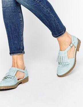 ASOS MACEY Fringe T-Bar Flat Shoes
