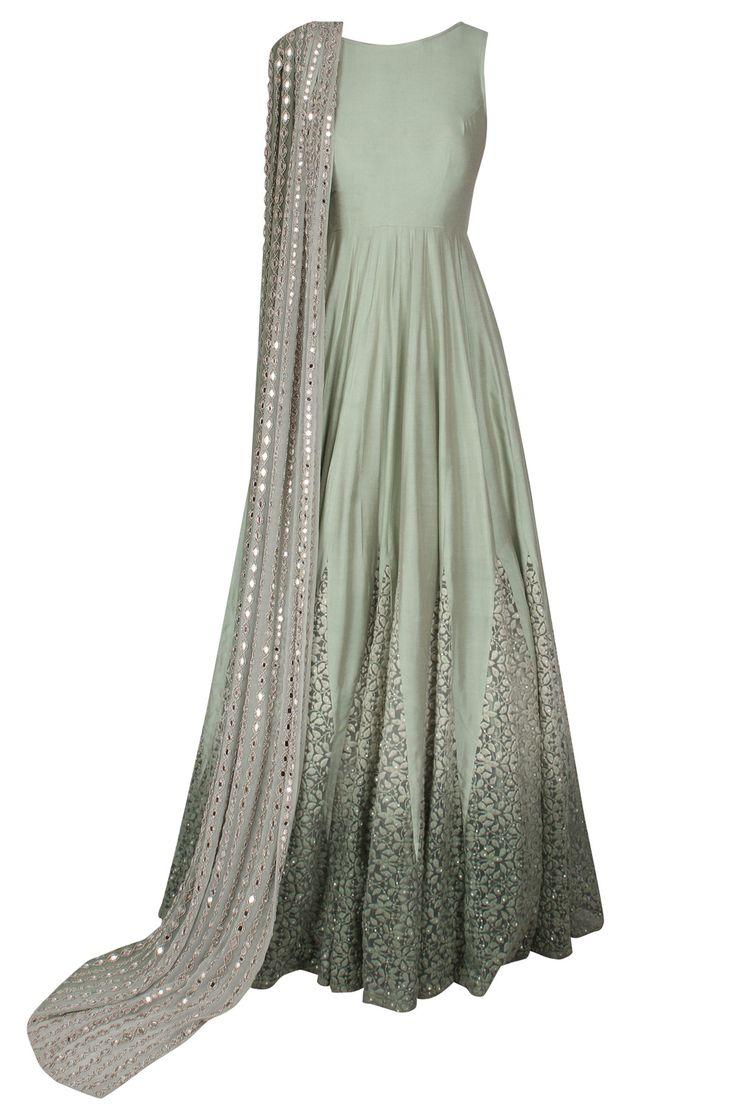 Mint green dori thread embroidered anarkali with mirror work embellished dupatta…