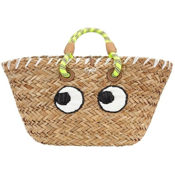 ANYA HINDMARCH Basket Eyes Embroidered Straw Tote Bag ($744) ❤ liked on Polyvore