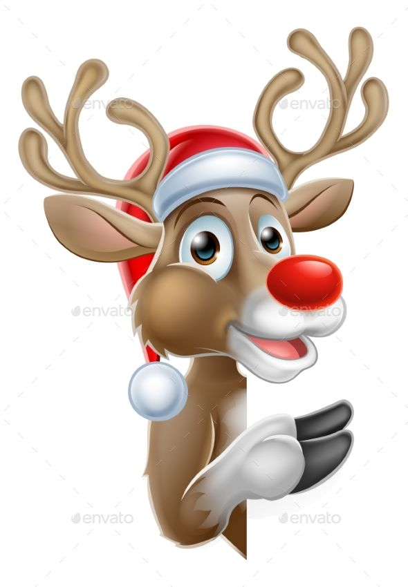Santa Hat Reindeer Pointing From Behind Sign Christmas Cartoon Characters Christmas Drawing Christmas Cartoon Pictures