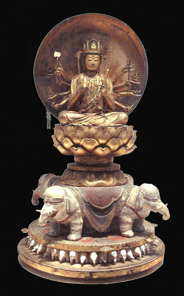 Samantabhadra is a Bodhisattva in Mahayana Buddhism associated with Buddhist practice and meditation. Together with the Buddha Sakyamuni and the Bodhisattva Manjusri, he forms the Sakyamuni trinity. He is the patron of the Lotus Sutra and, according to the Avatamsaka Sutra, made the ten great vows which are the basis of a bodhisattva. In China, Samantabhadra is associated with action, whereas the Bodhisattva Manjusri is associated with wisdom. (Rupa in the Musee Guimet)