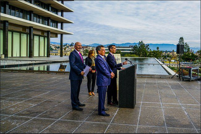 """LADWP Customer Bill of Rights - http://anythingla.com/ladwp-customer-bill-of-rights/ - [caption id=""""attachment_9174"""" align=""""aligncenter"""" width=""""650""""] Mayor Garcetti, LADWP Board President Mel Levine and LADWP General Manager David Wright unveil LADWP Customer Bill of Rights. Photo courtesy of L.A. Mayor, Eric Garcetti[/caption] Mayor Eric Garcetti doubled down on his commitment to improving customer service at the Los Angeles Department of Water and Power (LADWP) by introduc"""