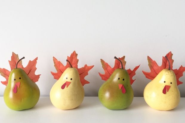These DIY pear turkeys can be displayed in a row on a mantel, or use them as place-card holders for your Thanksgiving feast. We show you how! Photo by Sarah Gunn.