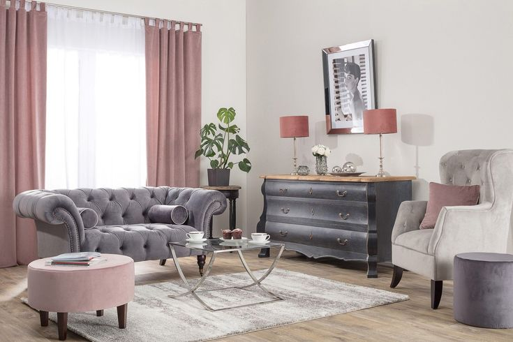 Obývačka v kolekcii VELVET - novinka v našej ponuke.  #obyvacka#velvet#kreslo#zavesy#zaclona#podnozka