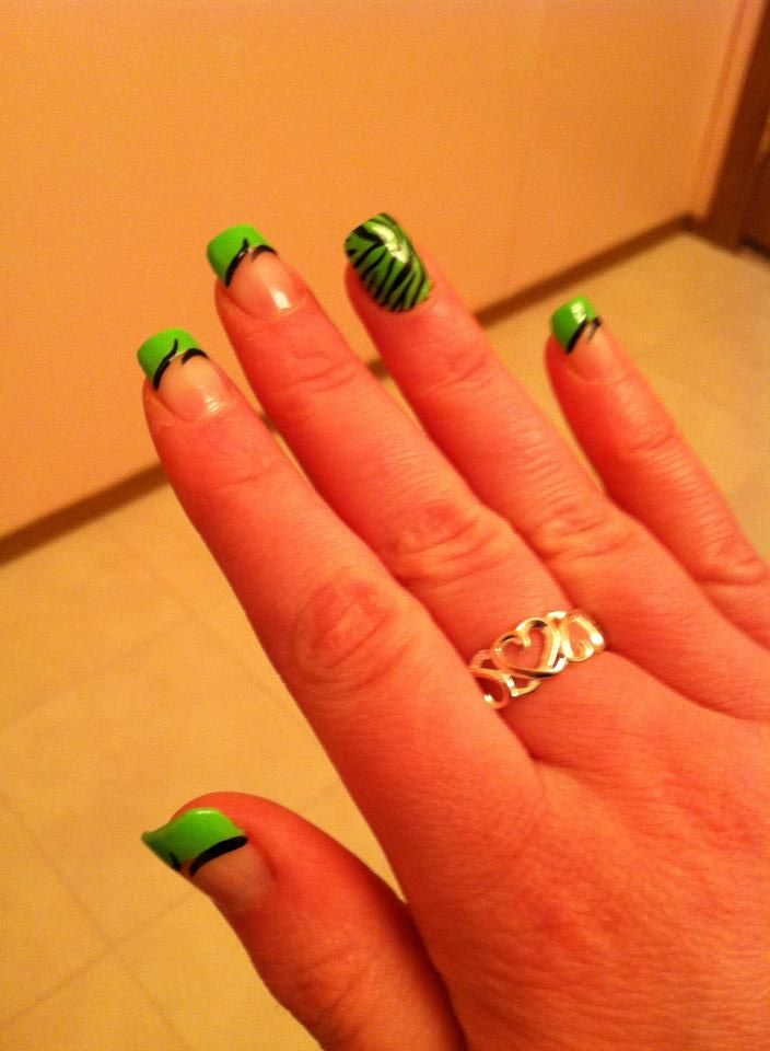 Acrylic Nail Design #nails #limegreen #zebra  – Stuff to Buy