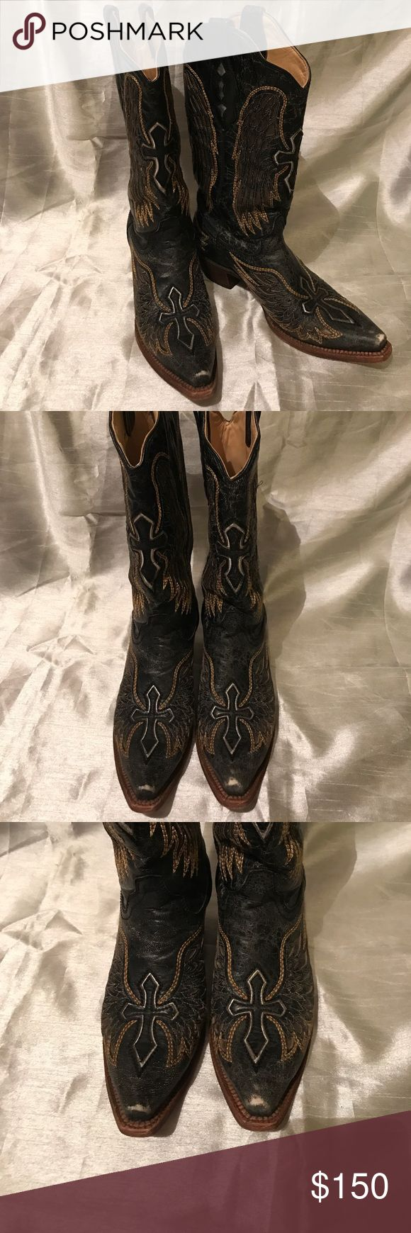 Corral wings and cross boots Corral vintage collection. Silver and gold wing and cross detail. Boots in very good used condition. Worn once to a concert. There is some wear on toes as shown in pics. Other than that they are great! Gorgeous boots!! Corral Shoes Heeled Boots