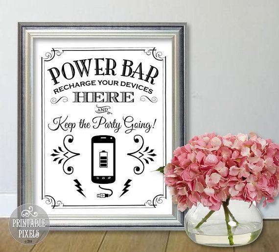 Power Bar Phone Charging Station Printable Sign by PrintablePixels                                                                                                                                                                                 More