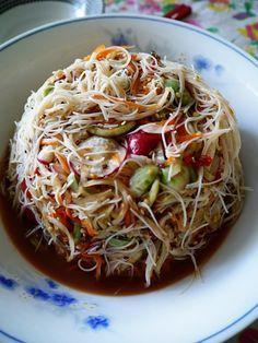 Lao spicy rice vermicelli salad recipe - tum khao poon - Padaek