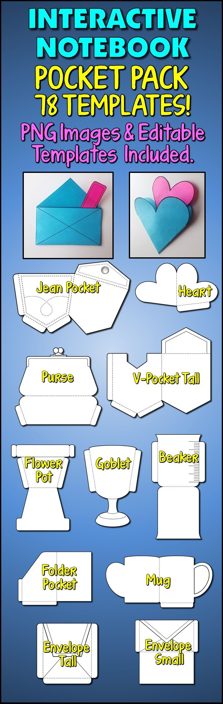 These 78 Blank Pocket Templates will make your interactive notebook more interesting and attractive. Pockets are of various shapes and sizes: envelopes, folders, V-pockets, slanted pockets as well as fun shapes (beaker, mug, heart, flower pot, purse, jean pocket). As a bonus I have created 52 Inserts for you to mix and match with your pockets. Some have been designed for certain pockets. E.g. Key