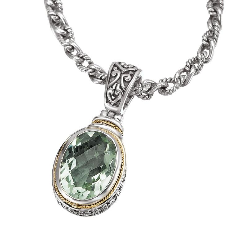 Enchanta Collection Sterling Silver & 18K Green Quartz Oval Pendant Enhancer