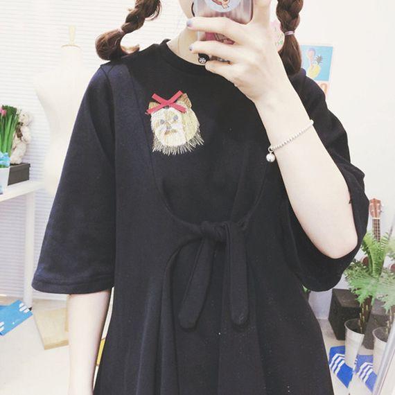 일본어 소프트 자매 귀여운 소녀 드레스 봄과 여름 2017 새로운 귀여운 만화 학생 반소매 자수 스커트