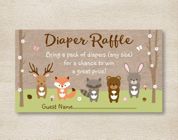 Woodland Girl Fox Printable Baby Shower Diaper Raffle Tickets