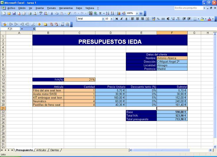 formatos para presupuestos en excel