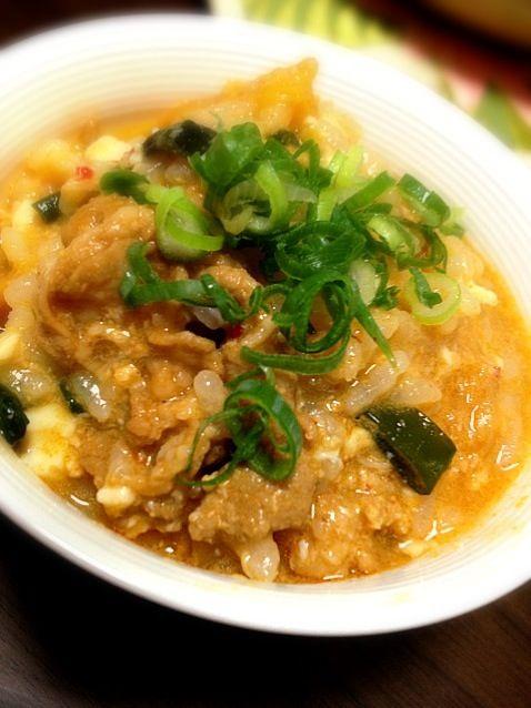 昨日のキムチ鍋の残りで雑炊( ^ω^ ) - 22件のもぐもぐ - キムチ雑炊 by towapu
