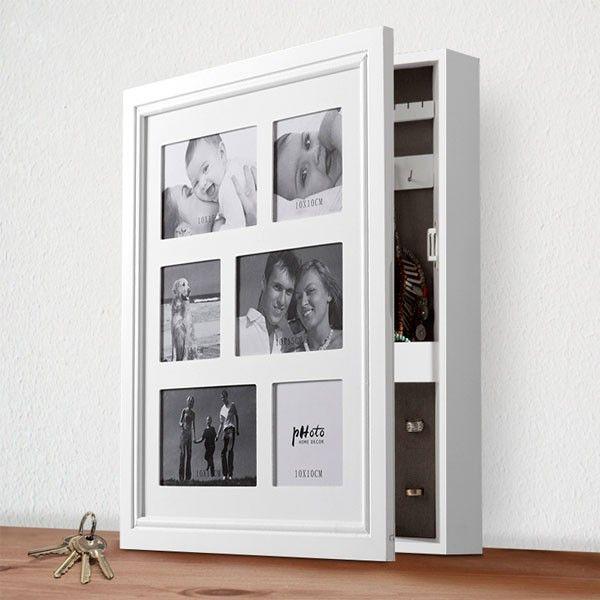 Drevená šperkovnica s rámčekom sa do vašej izby krásne hodí. Táto praktická, moderná a elegantná stolová šperkovnica je súčasne rámčekom na 6 fotografií.