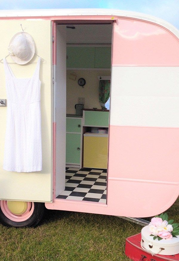 A super cute pink and white retro style vintage caravan that has been upcycled and redecorated to within an inch of it's fabulous little life! I'm in love with retro style and the interior decor ideas I get from this gorgeous little trailer.