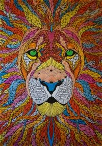 Lion illustration by Paul Robbins. Amazing detail