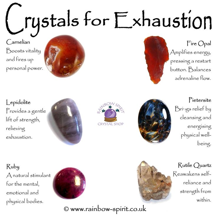 Rainbow Spirit crystal shop - My crystal healing poster of stones with properties to relieve exhaustion.
