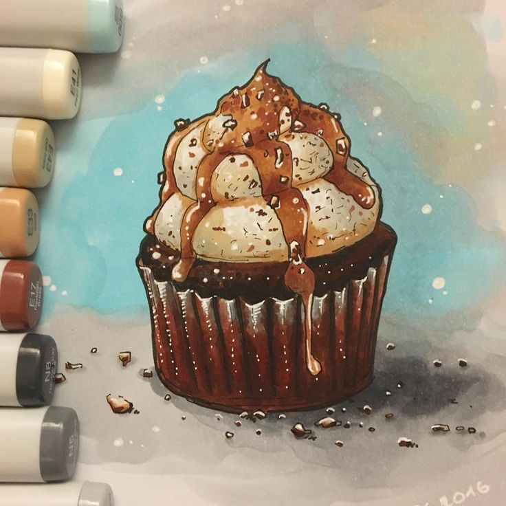 This cupcake looks so delicious . Now I will make ☕️ and eat . Mission accomplished - I finished #cupcake #sketch  Feeling happy  #экстримскетчинг2 #kalachevaschool #экстримскетчинг #copicmarkers #markers #art