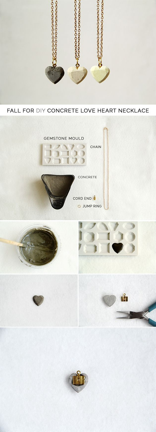 Concrete heart necklace DIY.