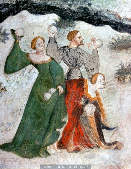 The signora in green always gets picked first for a snowballer team.   detail from a fresco in Buonconsiglio Castle, c. 1405-1410. [Epic Medieval Snowball Fights]