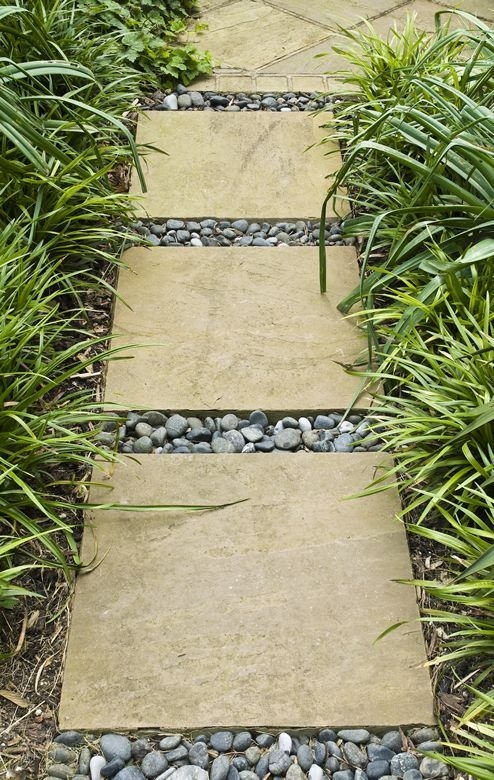 Garden walkway - pored in place concrete squares or purchased step stones with beach pebble. Variegated Lily Turf as a border, would look nice.