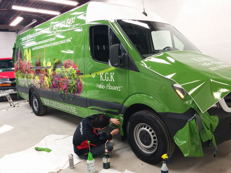 KGK Patio Flowers Sprinter wrap in progress.