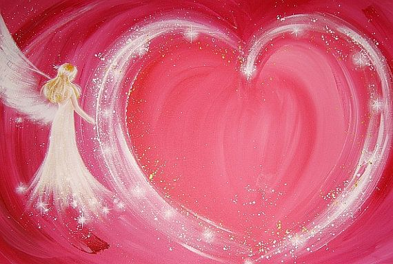 """Limited angel art poster """"Follow your heart"""", modern contemporary angel painting, artwork, print, glossy photo,"""