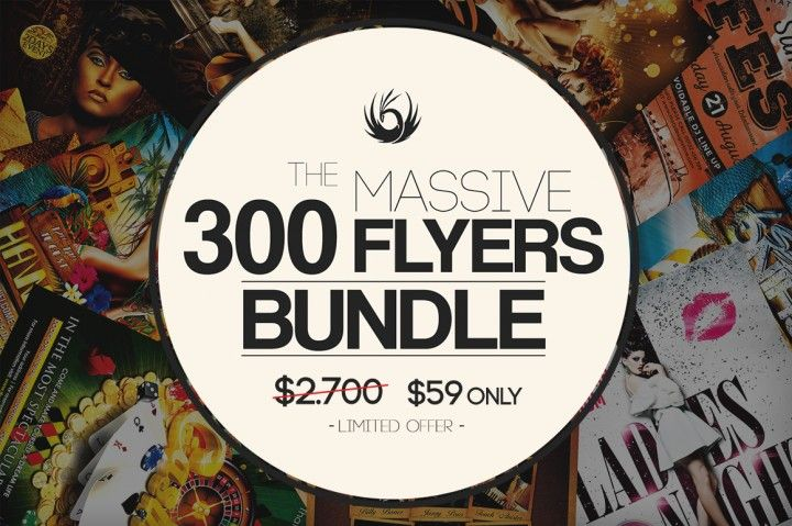 300 Flyer Templates covering any type of events. Concerts and Music festivals, Club and parties, Casinos, Sports, Summer, Autumn, Winter, Spring, Valentines Day, Halloween, Christmas, New Year and much more...! $59 only for a LIMITED TIME!