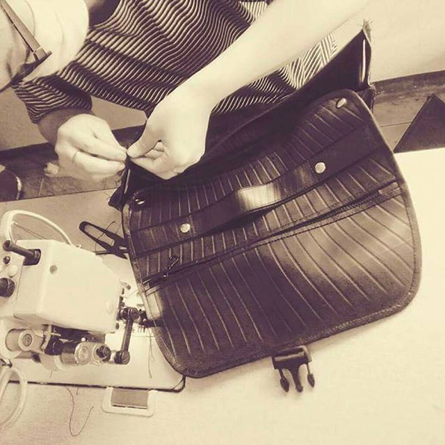 Recycle Creative - Making of Recycled Inner Tube Eco Messenger Bag
