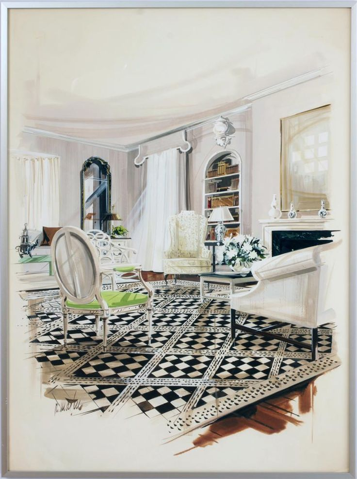 Angelo Donghia/Yale Burge: Sitting Room Interior Watercolor on paper, signed R. Martin lower left.